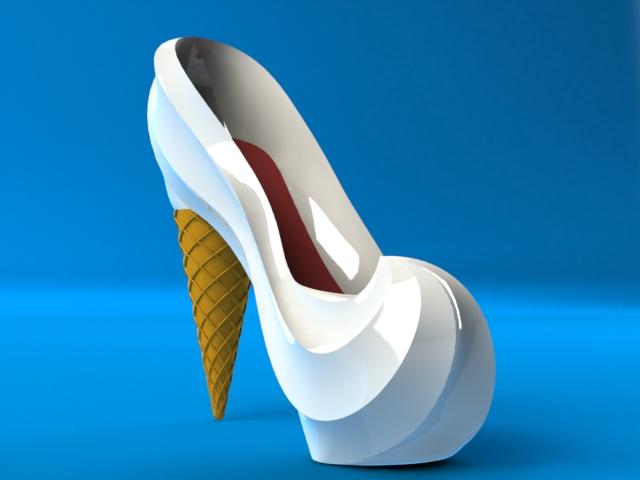 Finished ice cream high heel shoe