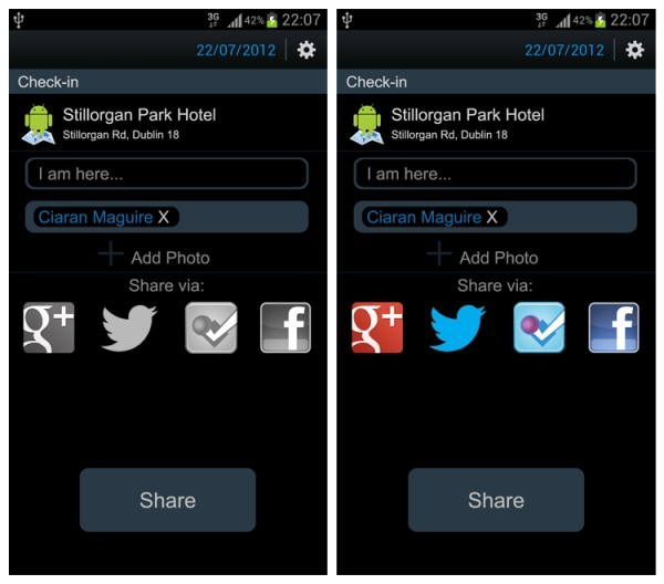 screenshots of android check-in concept sharing across multiple networks